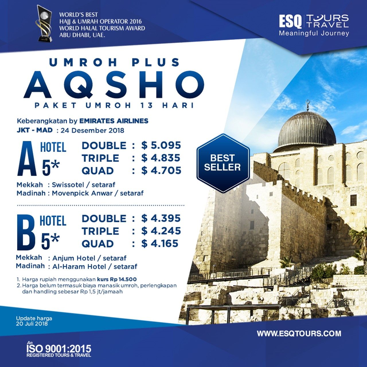 ESQ Tours Travel | Harga paket umroh plus aqsho desember 2018